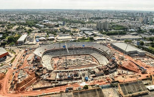 Atualmente, obras da Arena da Amazônia estão com 53,39% de conclusão em Manaus (Foto: Divulgação/Andrade Gutierrez)