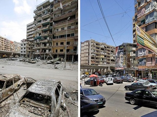 Fotos mostram o Líbano no dia 18 de julho de 2006 e reconstrução no sul do país em 2007 (Foto: Reuters)