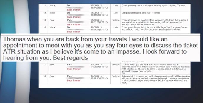 E-mail Thomas Bach e Patrick Hickey (Foto: Reprodução / SporTV)