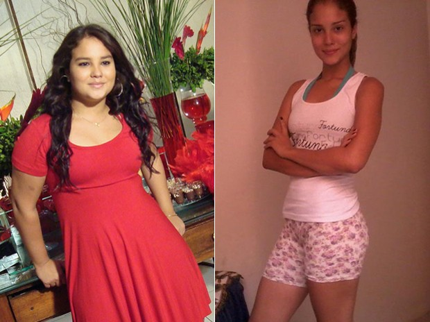A estudante se dava de 'presente' uma guloseima se conseguisse perder peso; fotos mostram antes e depois (Foto: Arquivo pessoal)