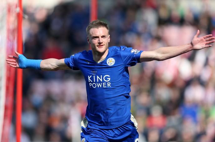 Vardy comemora gol do Leicester no Sunderland (Foto: AP Photo/Scott Heppell)