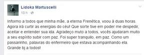 Print da mensagem de Igor Martuscelli no perfil da mãe, Lidoka, no Facebook (Foto: Reprodução/Facebook)
