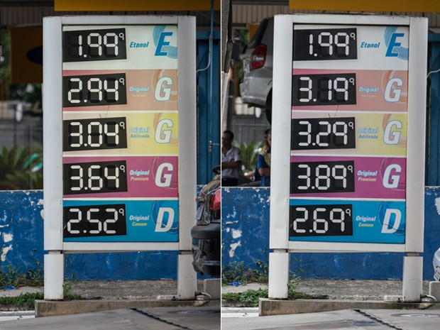 Na Zona Sul, posto na Rua Pedro Noel aumentou R$ 0,25 o preço da gasolina entre sexta e segunda, mas manteve o custo do etanol inalterado (Foto: Marcelo Brandt / G1)