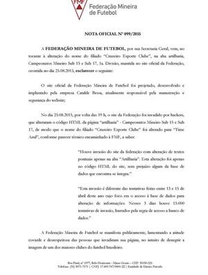 """FMF divulga esclarecimento sobre mudança de nome de Cruzeiro para """"Time Azul"""" na página da entidade (Foto: Reprodução/FMF)"""