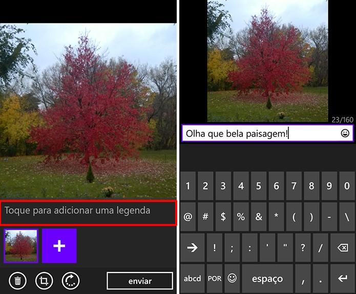 WhatsApp para Windows Phone agora suporta legendas em imagens (Foto: Reprodução/Elson de Souza)
