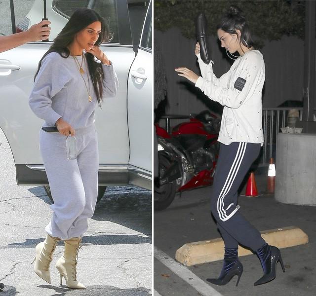 Moletom + salto alto: batalha fashion entre Kim Kardashian e Kendall Jenner (Foto: AKM-GSI )