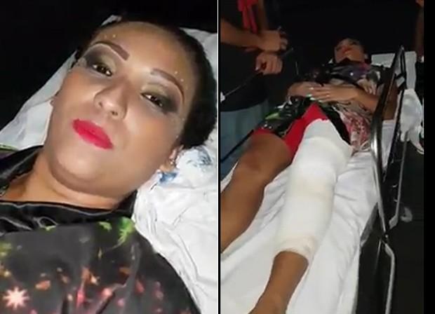 Jessica Ferrreira,porta-bandeira da Padre Miguel, deixa hospital após machucar joelho (Foto: Reprodução/Facebook)