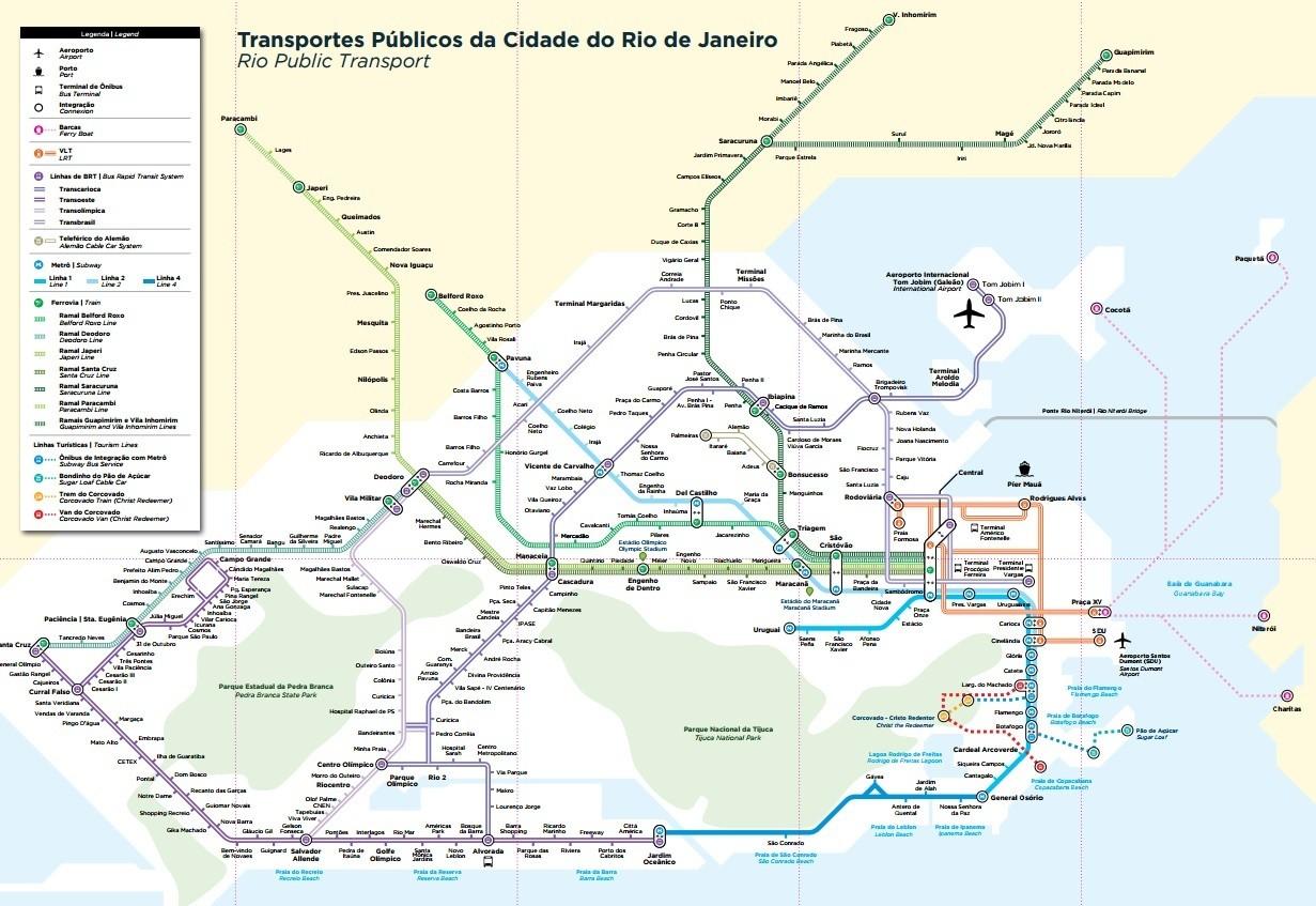 Mapa do transporte no Rio