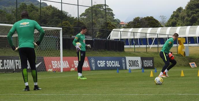 Caíque, Cleiton e Lucas Perri goleiros seleção brasileira sub-20 (Foto: Lucas Loos / GloboEsporte.com)