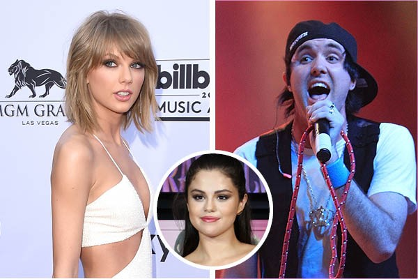 Taylor Swift, Jonathan Cook e Selena Gomez (Foto: Getty Images)