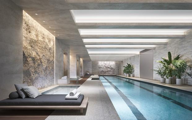 Piscina do 70 Vestry, prédio de luxo em Nova York (Foto: Divulgação/Related)