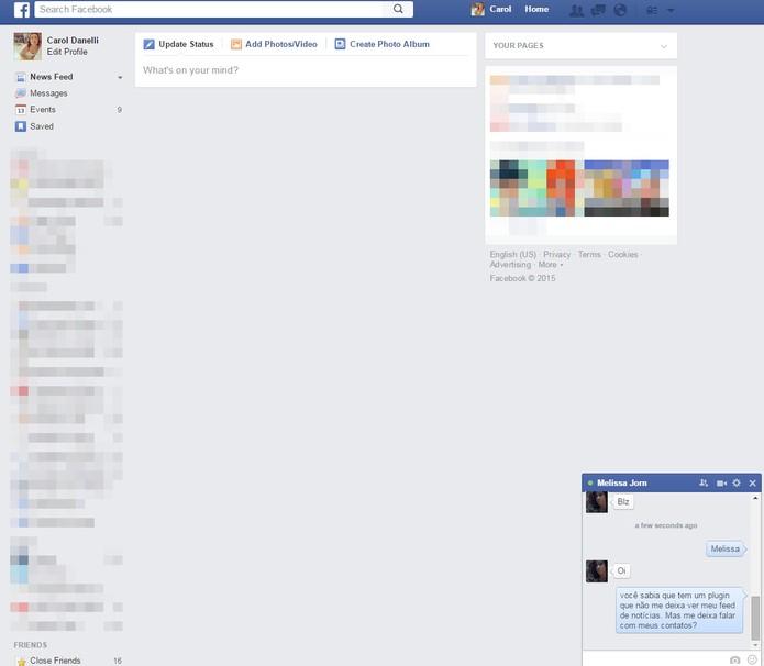 App bloqueia o feed do Facebook (Foto: Reprodução/Carol Danelli)