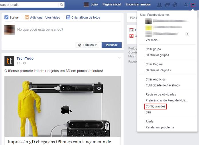 Menu possui várias opções de gerenciamento da rede social (Foto: Reprodução/Facebook)