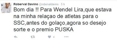 Twitter, Roberval Davino, Wendel Lira (Foto: Reprodução/Twitter)