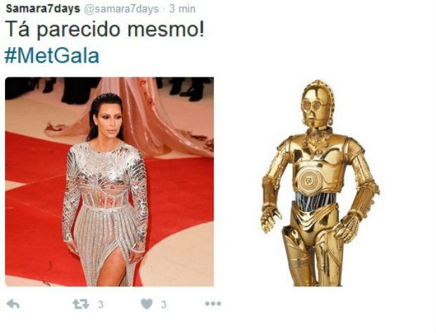 Kim Kardashian comparada com o C-3PO (Foto: Reprodução/Twitter)