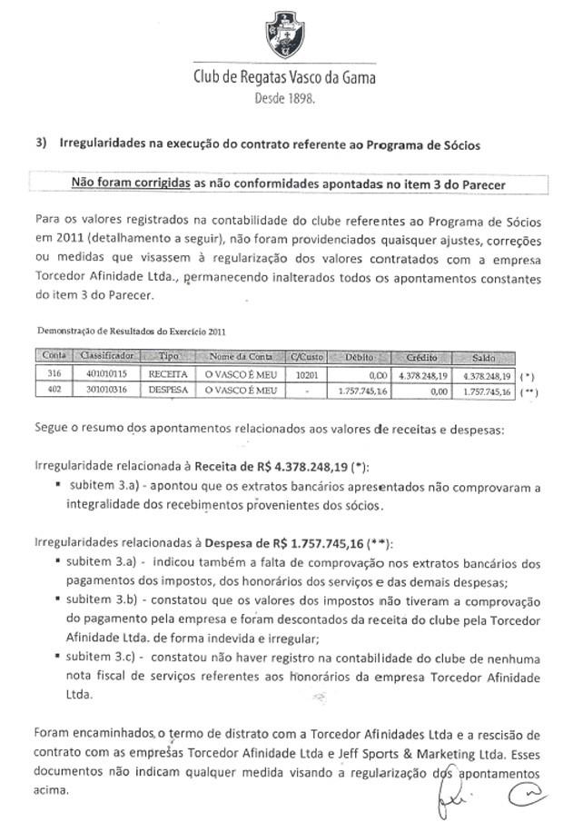 Documento Vasco Penalty programa de sócios (Foto: Reprodução)