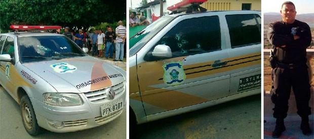 Carro em que o agente Maxuel André Marcelino estava ficou crivado de balas  (Foto: Larisse Souza/G1) (Foto: Larisse Souza/G1 e Marcelo Pep)