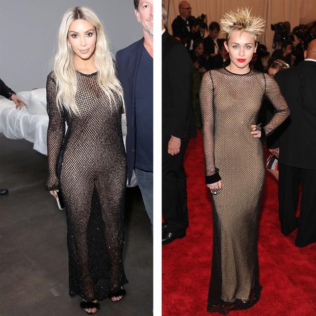 Kim Kardashian em setembro de 2016; Miley Cyrus em maio de 2013 (Foto: Getty Images)