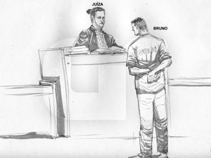 06/03/2013 - Bruno conversa com a juíza Marixa durante depoimento (Foto: Léo Aragão/G1)