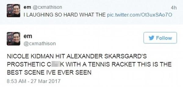 Os fãs impressionados com a cena envolvendo Nicole Kidman e Alexander Skarsgard (Foto: Twitter)