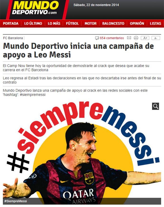 campanha Messi Mundo Deportivo (Foto: Reprodução)
