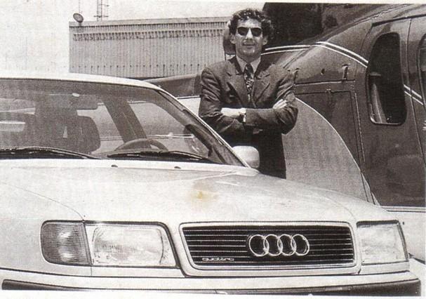 Senna em anúncio do Audi S4, marca que trouxe ao Brasil (Foto: Reprodução)