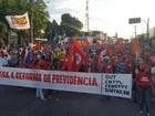 Em Natal, manifestantes protestam contra reforma da Previdência