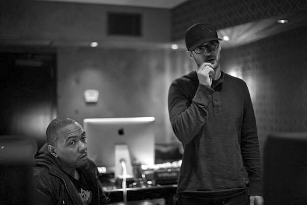 O produtor Timbaland e o músico Justin Timberlake no estúdio (Foto: Divulgação/Justintimberlake.com)