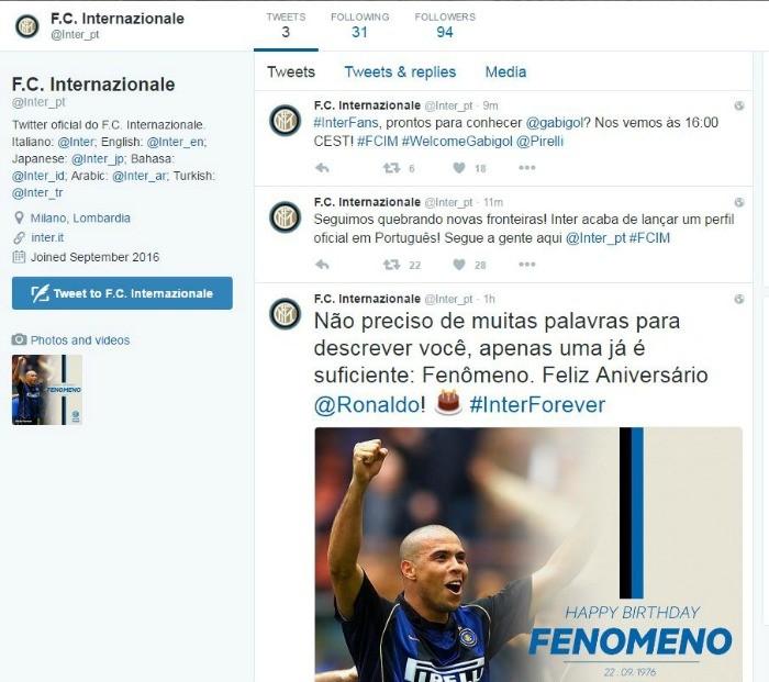 BLOG: Efeito Gabigol: Inter de Milão lança perfil em português no Twitter