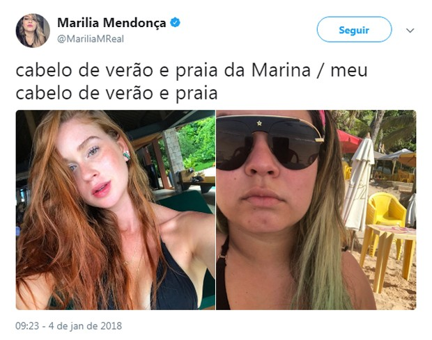 Marília Mendonça brinca com visual (Foto: Reprodução/Twitter)