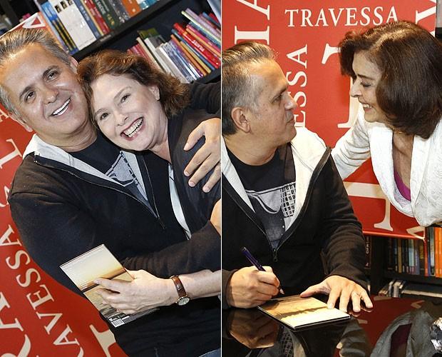 Orlando Morais recebeu o carinho de Louise Cardoso (à esquerda) e Betty Faria (à direita) (Foto: Roberto Filho/AgNews)