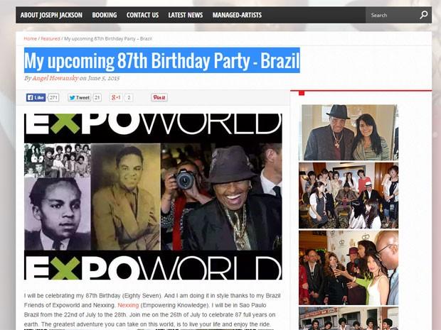 Joe Jackson deve comemorar seu 87º aniversário em São Paulo (Foto: Reprodução/Arquivo Pessoal)
