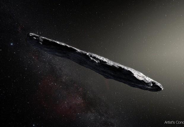 """Asteroide apelidado de """"Oumuamua""""  (Foto: Reprodução/Facebook/Nasa)"""