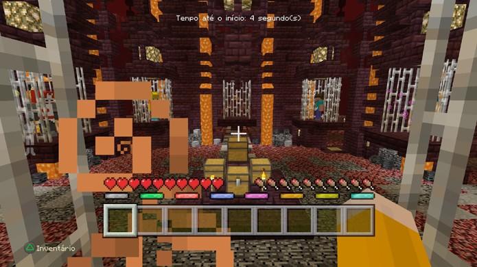 Antes da batalha começar em Minecraft todos os jogadores ficam paralisados (Foto: Reprodução/Rafael Monteiro)