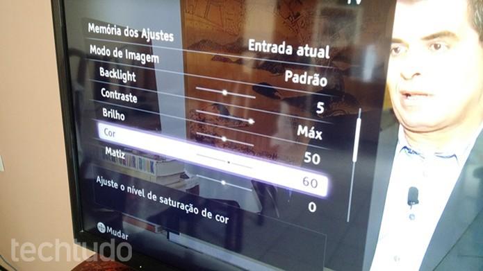 Primeira página de opções para ajustes de imagem (Foto: Felipe Alencar/TechTudo)