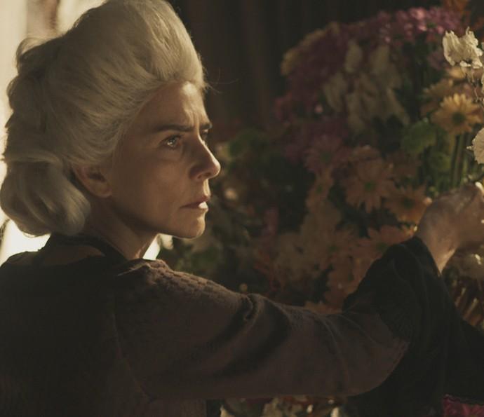 Dionísia está arrumando as flores na sala... (Foto: TV Globo)