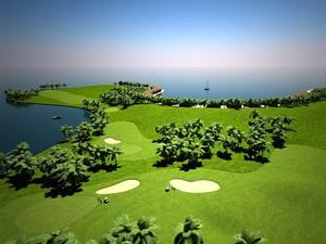 Campo de golfe em ilha flutuante nas Maldivas (Foto: Divulgação)