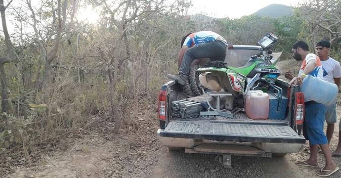 Motocicleta foi encontrada desmontada pela PM  (Foto: Divulgação/Rally dos Sertões )