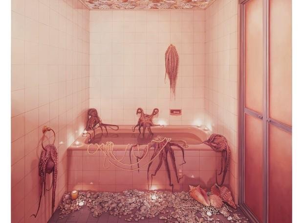 Tela Ana Elisa Egreja (Foto: Banheiro rosa com polvos, 2017)