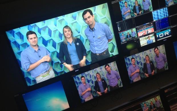 Cássio Barco, Chris Mussi e Daniel Cardoso no estúdio do Globoesporte.com (Foto: Globoesporte.com)