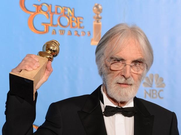 Michael Haneke ganhou o prêmio de melhor filme estrangeiro por 'Amor' no Globo de Ouro 2013 (Foto: Robyn Beck/AFP)