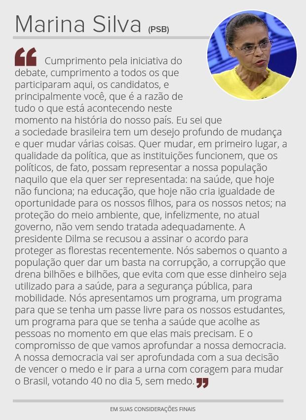 Debate na Globo: considerações finais de Marina Silva (Foto: G1)