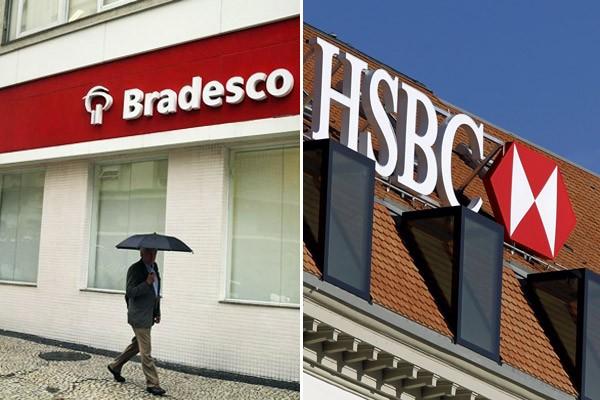 Bancos Bradesco e HSBC (Foto: Pilar Olivares/Reuters; Pierre Albouy/AFP)