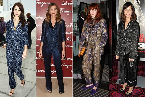Famosas de pijamas - Caroline Sieber, Elisa Sednaoui, Florench Welch e Jessica Alba (Foto: Getty Images)