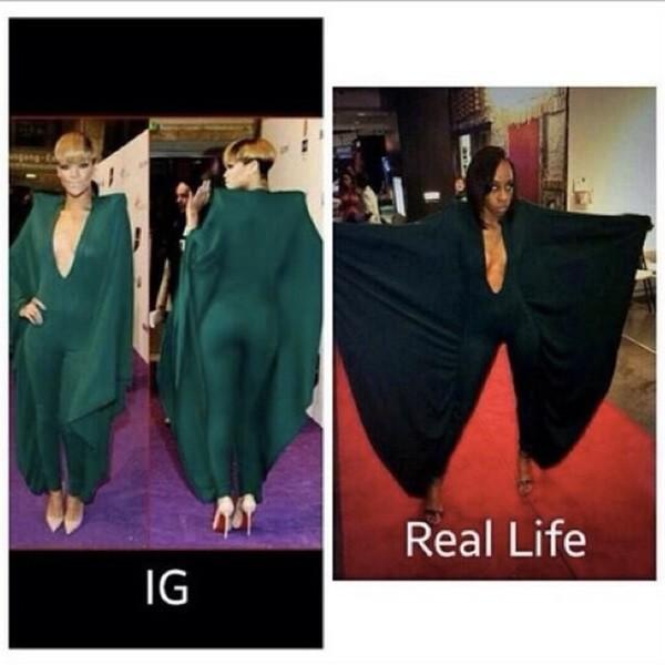 Montagem feita por Rihanna para zoar fã que copiou modelo de seu vestido (Foto: Twitter)