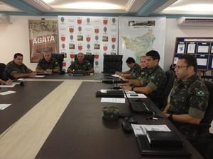Reunião do comando da Operação Ágata 7 em Roraima (Foto: Rodrigo Menaros / G1 RR)