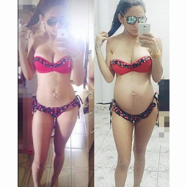 Thalyta Santos antes da gravidez e com seis meses de gestação (Foto: Reprodução / Facebook)