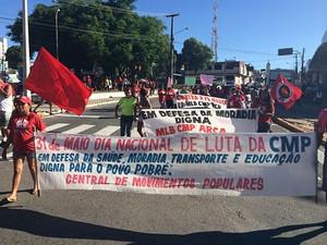 Concentração aconteceu nas imediações do Viaduto do Baldo, em Natal (Foto: Felipe Gibson/G1)