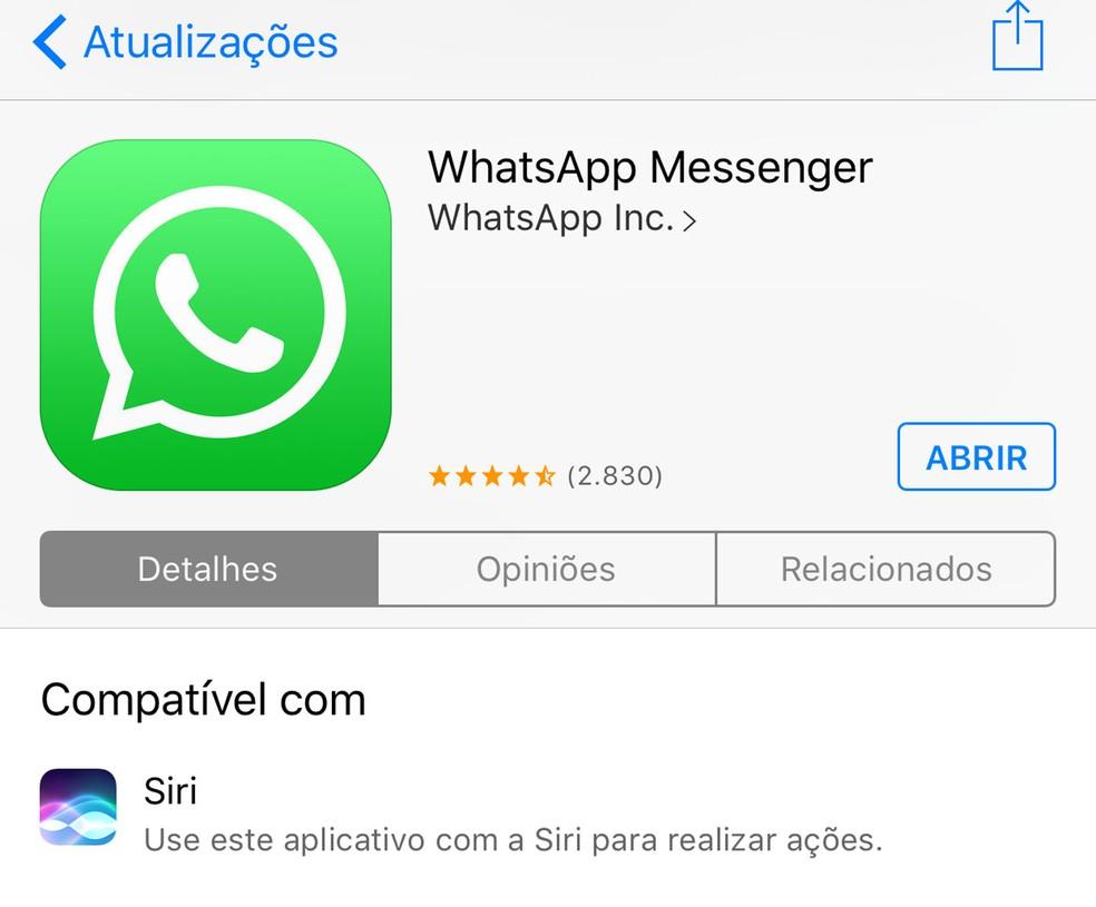 Siri ganha poder de ler mensagens do WhatsaApp em voz alta. (Foto: Reprodução/App Store/Apple)
