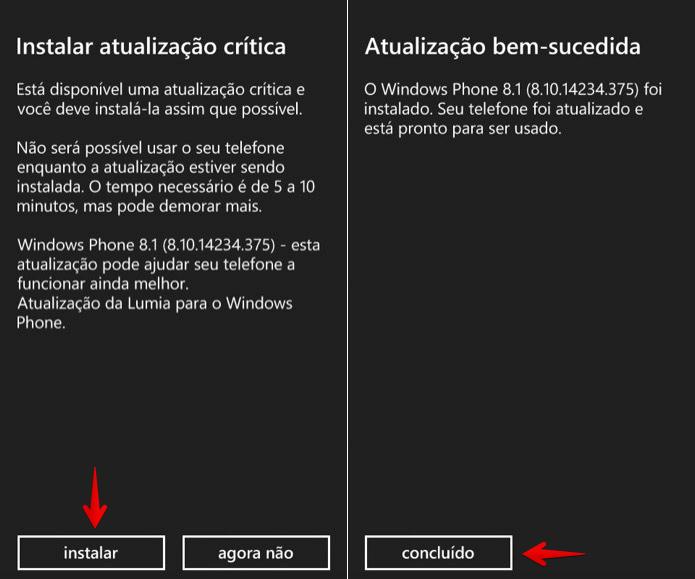 Instalando atualização no Windows Phone (Foto: Reprodução/Helito Bijora)